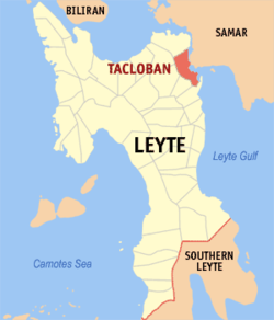 Map of Eastern Visayas with Tacloban highlighted