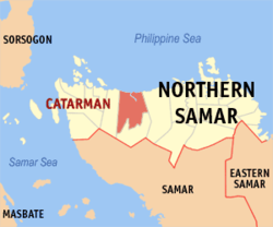 Map of Northern Samar with Catarman highlighted