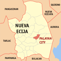 Map of Nueva Ecija with Palayan highlighted