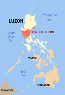 Map of the Philippines showing the location of Region IIICENTRAL LUZON