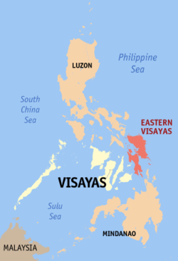 Map of the Philippines showing the location of Region VIII