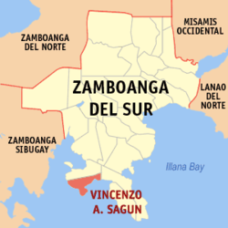 Map of Zamboanga del Sur showing the location of Vincenzo A. Sagun