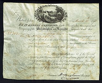 "William Bingham - Share of the ""Company of the Lancaster and Turnpike Road"", issued March 16, 1795, signed by William Bingham"
