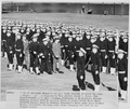 "Photograph of President Truman ""trooping the line"" of Midshipmen at the Brigade review, during his visit to the U.S.... - NARA - 198658.tif"