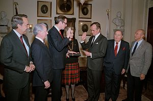 Jay Rockefeller - Surrounded by colleagues Senator Robert C. Byrd, Senator Bob Dole, Senator Strom Thurmond, and former Senator Jennings Randolph, Vice President administers the oath of office for Senator John D. (Jay) Rockefeller.