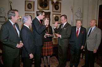 Jay Rockefeller - Surrounded by colleagues Senator Robert C. Byrd, Senator Bob Dole, Senator Strom Thurmond, and former Senator Jennings Randolph, Vice President George H.W. Bush administers the oath of office for Senator John D. (Jay) Rockefeller.