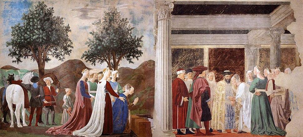 Piero della Francesca - 2. Procession of the Queen of Sheba; Meeting between the Queen of Sheba and King Solomon - WGA17487