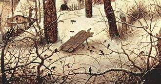 "Bird trapping - Painting of a lethal ""deadfall"" bird trap by Pieter Bruegel the Elder in 1565"