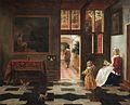Pieter de Hooch - Interior with a woman reading and and a child with a hoop.jpg