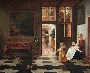 Intérieur avec une femme lisant et et un enfant