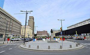 Warsaw Uprising Square - Polish National Bank building (right) on Warsaw Uprising Square, in Warsaw.