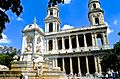 Place Saint Sulpice, fountain 3, Paris May 2014.jpg