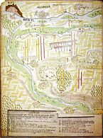 Plan of the Battle of Friedlingen (France - yellow; Reichsheer - red);  the sketch does not face north;  North is right