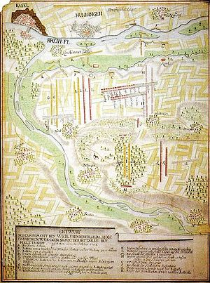 Battle of Friedlingen - Map of the Battle of Friedlingen; French = yellow; Imperial Army = red; North is on the right side