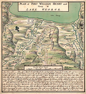 A hand-drawn plan of the southern end of Lake George, prepared by British engineer William Eyre. The article text contains more details on the layout and geography.