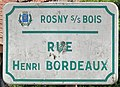Plaque Rue Henri Bordeaux - Rosny-sous-Bois (FR93) - 2021-04-15 - 1.jpg