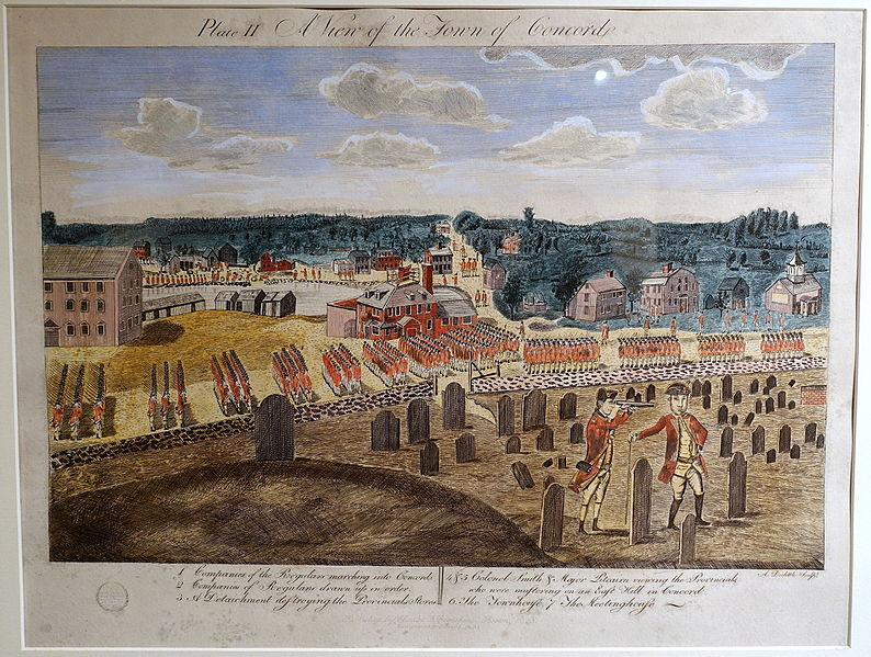 File:Plate II, A View of the Town of Concord, Amos Doolittle engravings of the Battle of Lexington and Concord, December 1775, reprint by Charles E. Goodspeed, Boston, 1903 - Concord Museum - Concord, MA - DSC05584.JPG