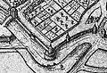 Plattegrond Maastricht uit atlas Civitates Orbis Terrarum (Braun en Hogenberg, 1575) - omgeving Tongersepoort, Lange Toren, De Reek.JPG