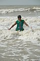 Playful Girl with Sea Waves - New Digha Beach - East Midnapore 2015-05-03 9740.JPG