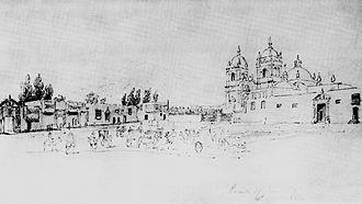 """Plaza de Armas of Trujillo (Peru) - Plaza de armas of Trujillo in 1839, by """"Léonce Angrand"""""""