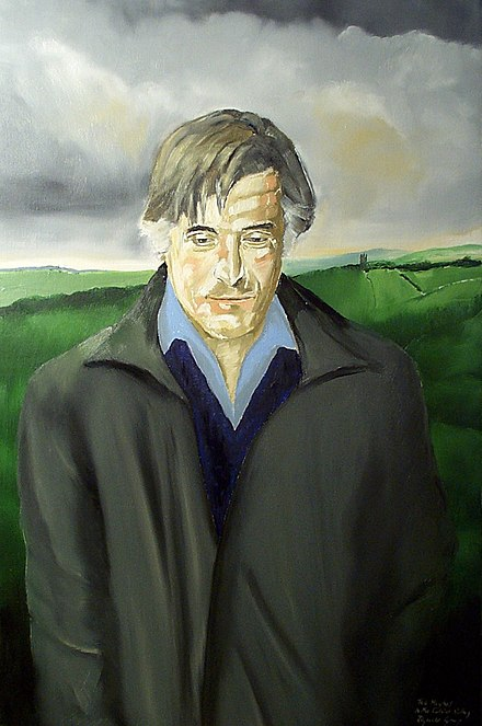 Homage to Ted Hughes by Reginald Gray (2004), Bankfield Museum, Halifax Poet Ted HughesDCP 2068.JPG