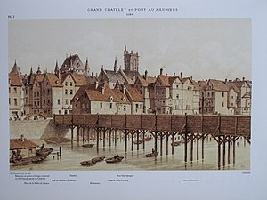 Paris in the 16th century - The Pont aux Meuniers, or miller's bridge, in 1580 19th century engraving by Hoffbrauer.