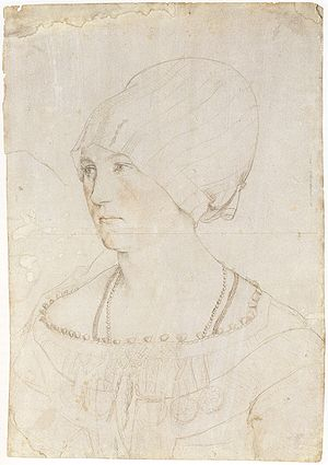Silverpoint -  Portrait Study of Dorothea Meyer, by Hans Holbein the Younger, 1516. Silverpoint, red chalk, and traces of black pencil on white-coated paper, Kunstmuseum Basel.