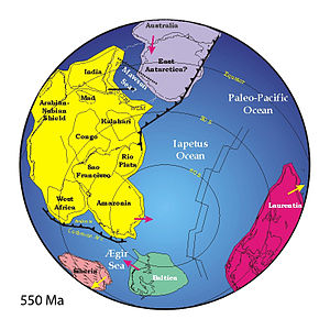 Iapetus Ocean - Reconstruction of how the Iapetus Ocean and surrounding continents might have been arranged during the late Ediacaran period