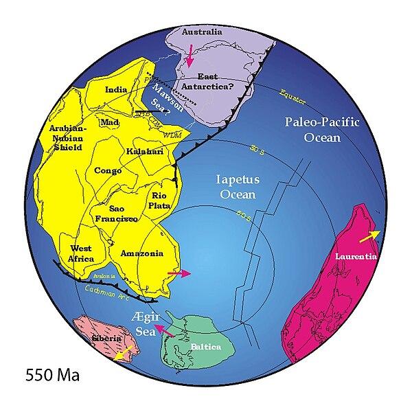 Kontinenty na konci starohôr pred 550 miliónmi rokov
