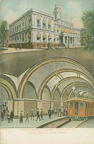 City Hall (IRT Lexington Avenue Line) - Image: Postcard New York NY City Hall Subway Station 1913