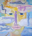 Poupetova Miluse - Na sedmem oblacku v sedmem nebi, olej na platne, 100x90cm, r. 2011.jpg