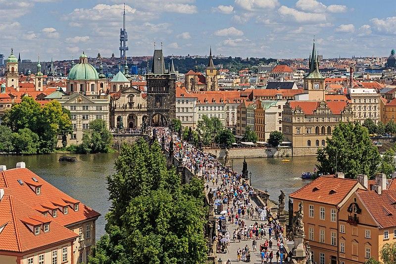 Prague 07-2016 view from Lesser Town Tower of Charles Bridge img3.jpg