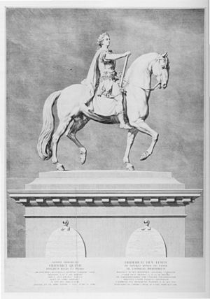 Jacques Saly - J.M. Preisler's engraving of Saly's equestrian sculpture of Frederik V on horseback. 1768-69.