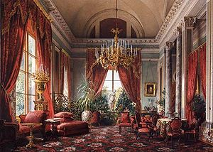 "Interior portrait - The ""petit salon rouge"" at the Alexander Palace in Tsarskoye Selo, by Luigi Premazzi (c.1855)"