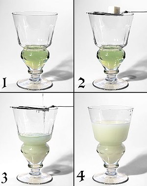 Ouzo effect - The ouzo effect during the preparation of absinthe.