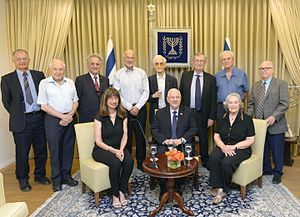 Israel Academy of Sciences and Humanities - Israeli President Reuven Rivlin with the current and the former presidents of the Israel Academy of Sciences and Humanities
