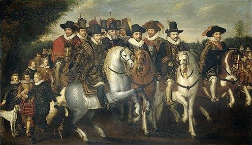 Prins Maurits vergezeld door zijn twee broeders, Frederik V, keurvorst van de Palts en enkele graven van Nassau te paard Rijksmuseum SK-A-445