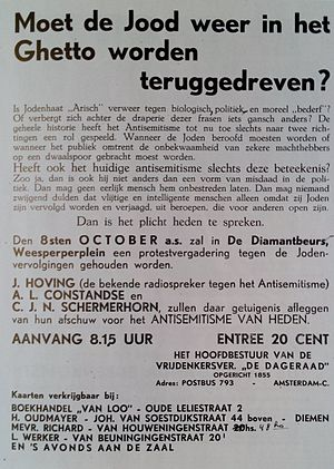 De Vrije Gedachte - Protest rally against antisemitism and persecution of Jews in 1935.
