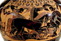 Psykter amphora Chalkidian black-figure ware attributed to the inscriptions painter Side A Achilles dismounts chariot to kill Eurymachus Ba000024 cropped white balanced.png
