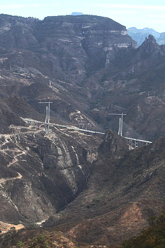 The Baluarte Bridge is the highest cable-stayed bridge in the world, the fifth-highest bridge overall and the highest bridge in the Americas. Puente Baluarte, Mexico6.jpg
