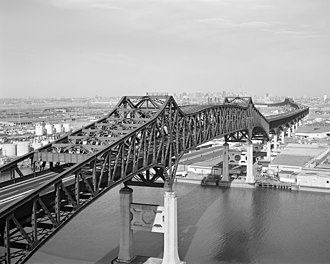 Pulaski Skyway - Looking east at Passaic River crossing, with Hackensack River bridge in background