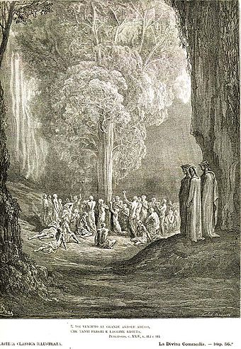 Image of a non-fiery purgatory (Gustave Dore: illustration for Dante's Purgatorio, Canto 24). Pur 24 dore.jpg