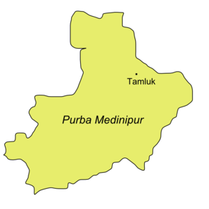 Purba Medinipur district - Map of Purba Medinipur showing Tamluk