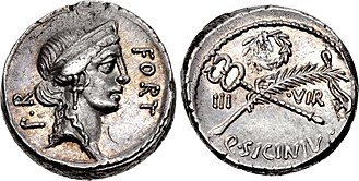 Sicinia (gens) - Denarius of Quintus Sicinius, 49 BC.  The obverse features a head of Fortuna.  The reverse depicts a laurel wreath, a palm frond, and a caduceus, emblems of a triumph, indicating Sicinius' hope for a Pompeian victory.