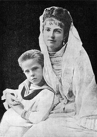 Victor Emmanuel III of Italy - Young Victor Emmanuel with his mother, Margherita of Savoy, 1876.