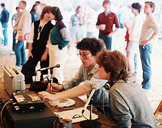 Richard Quest - Quest and Lisa Neideffer of WRVU-FM broadcasting at Vanderbilt University, 1984