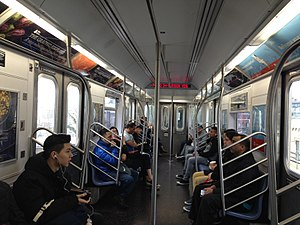 R188 (New York City Subway car) - Image: R188 interior Second Edition