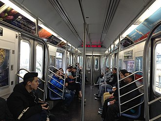 R188 (New York City Subway car) - Image: R188 interior Second Edition