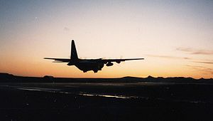 RAF Stanley - 1312 Flt C-130 taking off into the sunset.jpg