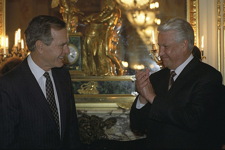 RIAN archive 859348 US President George H. W. Bush and Russian President Boris Yeltsin